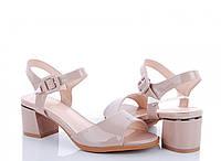 Нарядные бежевые лаковые босоножки на маленьком каблуке 36  размер