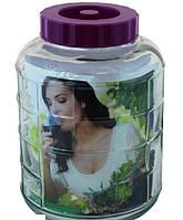 Бутель склянний для вина з гідрозатворів 5л