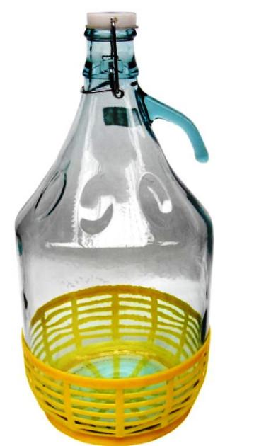 Бутылка 5л с ручкой и бугельным замком в корзине