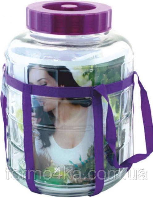 Бутыль стеклянный для вина с гидрозатвором 12л