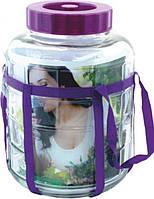 Бутыль стеклянный для вина с гидрозатвором 12л, фото 1