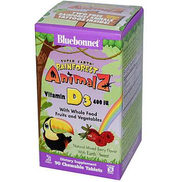 Bluebonnet Nutrition, Super Earth, Rainforest Animalz, Витамин D3, ягодное ассорти, 400 IU, 90 жевательных таблеток