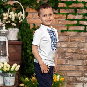 Вышитая футболка для мальчика Синий Орнамент