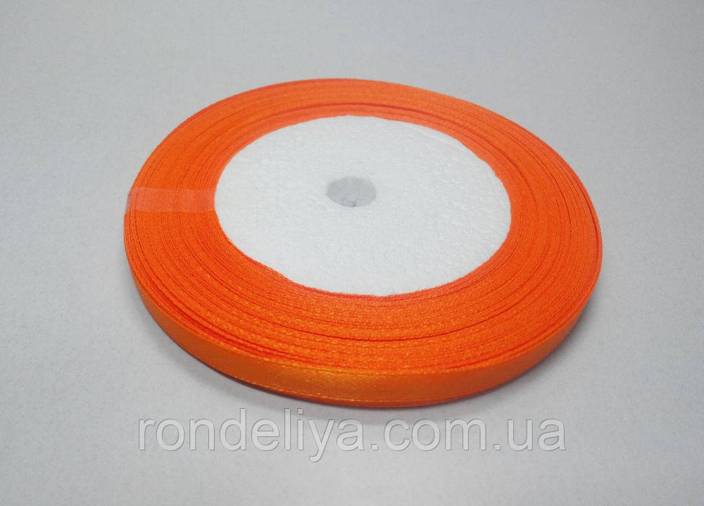 Стрічка атлас 0,6 см 23 метри помаранчевий апельсин