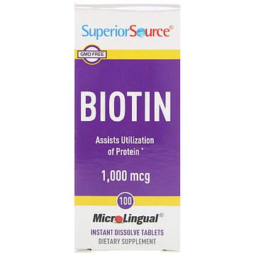 Superior Source, Биотин, 1000 мкг, 100 микролингвальных быстрорастворимых таблеток