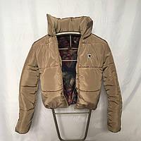 Дутая зимняя короткая куртка с капюшоном, бежевая, 42- 48