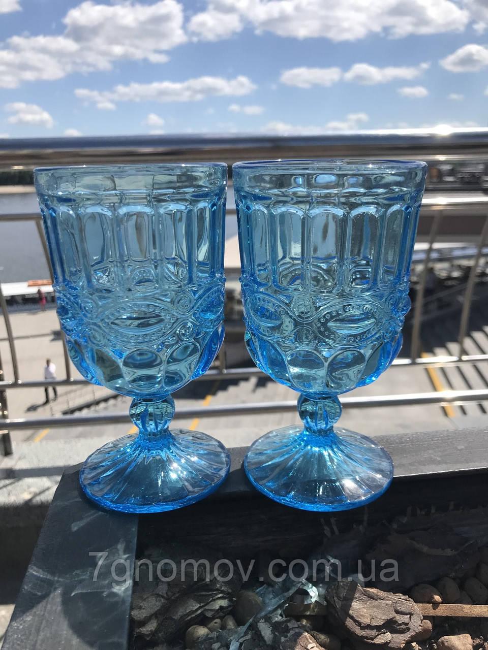 Набор 6 бокалов из цветного бирюзового стекла Катрин 300 мл