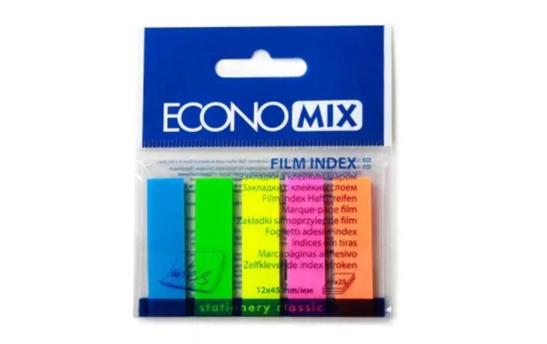 Закладки с клейким слоем Economix 12х45 мм, 125 шт., 5 неоновых цветов