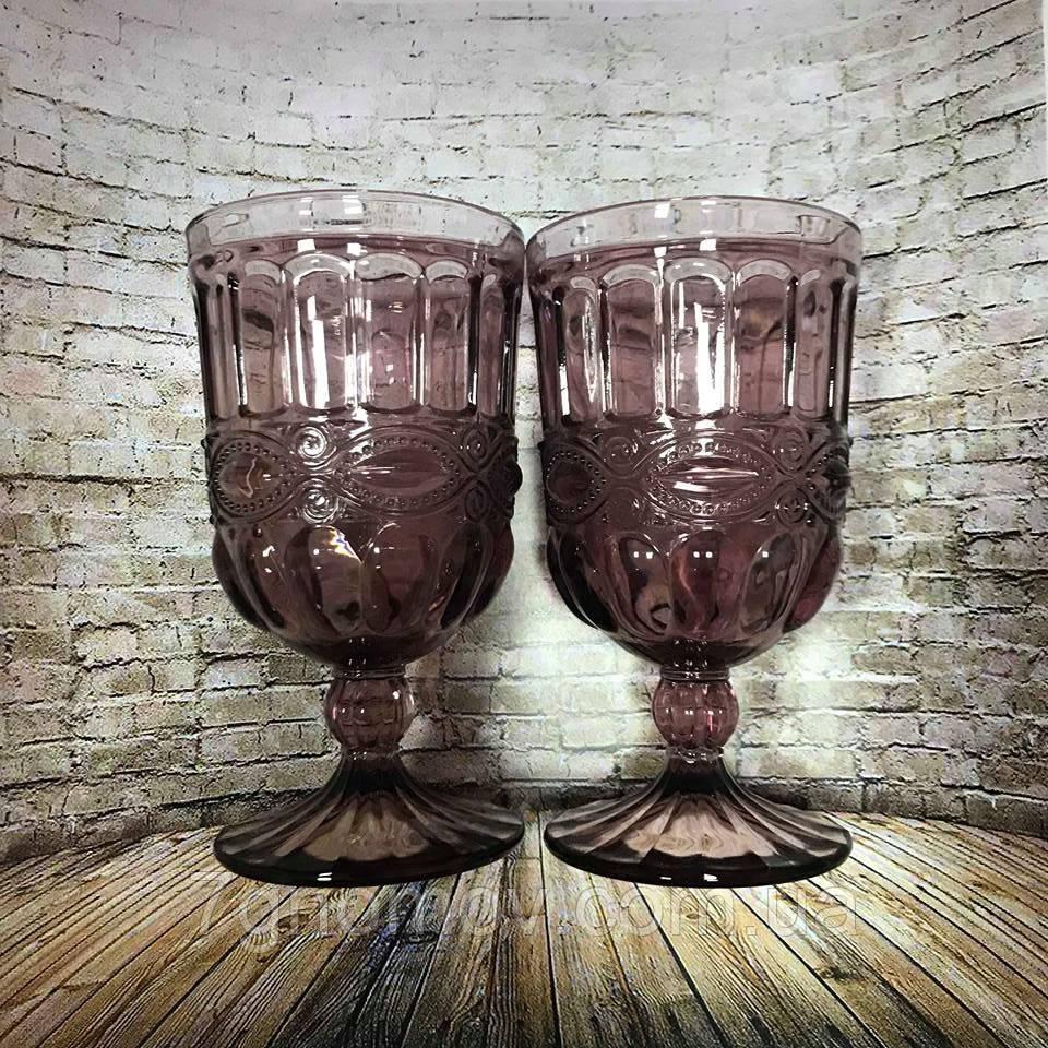 Набор 6 бокалов из цветного розового стекла Катрин 300 мл