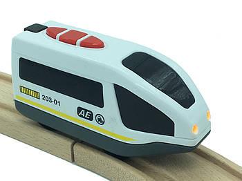 Поезд на батарейках до деревянной железной дороги Playtive Junior Loko
