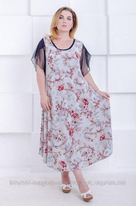 "Летнее платье ""Аркадия плюс"" р. 60-66 серый"