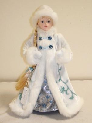 Новогодняя сувенирная фигурка Снегурочка в белой шубе, 35, 5 см, (600052-1)