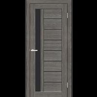 """Межкомнатная дверь ПВХ """"Cortex Deco 09"""" (Черное стекло)"""