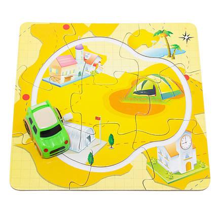 Трек-пазл Aohua с заводной машинкой, 17 см*17 см, длина машинки 4 см, желтый, пластик.