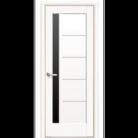"""Межкомнатная дверь ПВХ """"Грета"""" с черным стеклом (Белый мат)"""