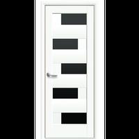 """Межкомнатная дверь ПВХ """"Пиана"""" с черным стеклом (Белый мат)"""