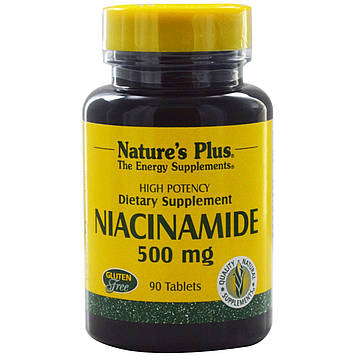 Natures Plus, Ниацинамид, 500 мг, 90 таблеток