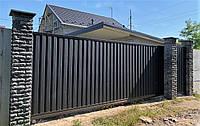 Откатные металлические ворота из профнастила (4 000×2 000 мм)