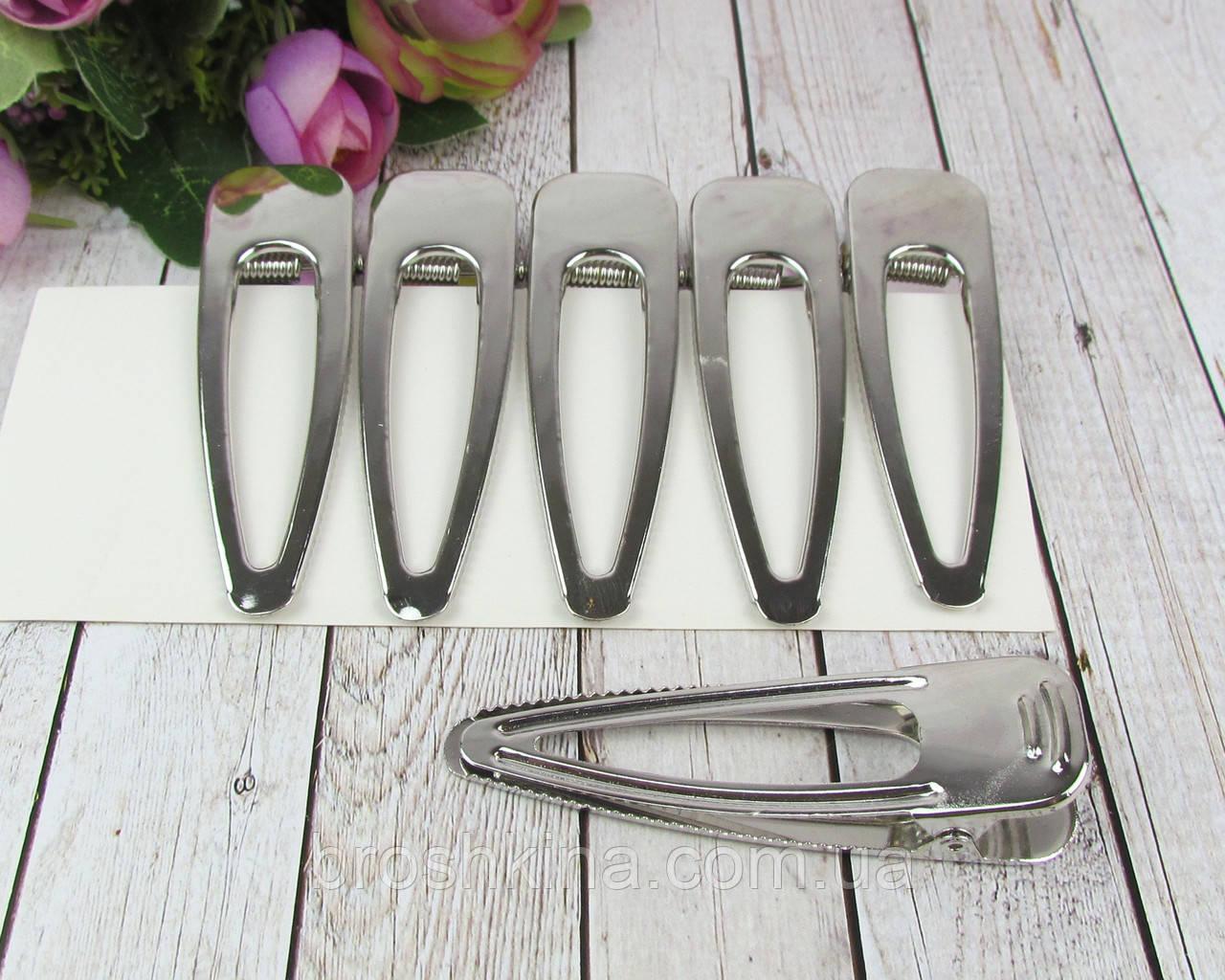 Заколки уточки для волос 8 см металл серебристые 6 шт/уп.