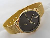 Часы мужские - CK Calvin Klein в золотом цвете, черный циферблат