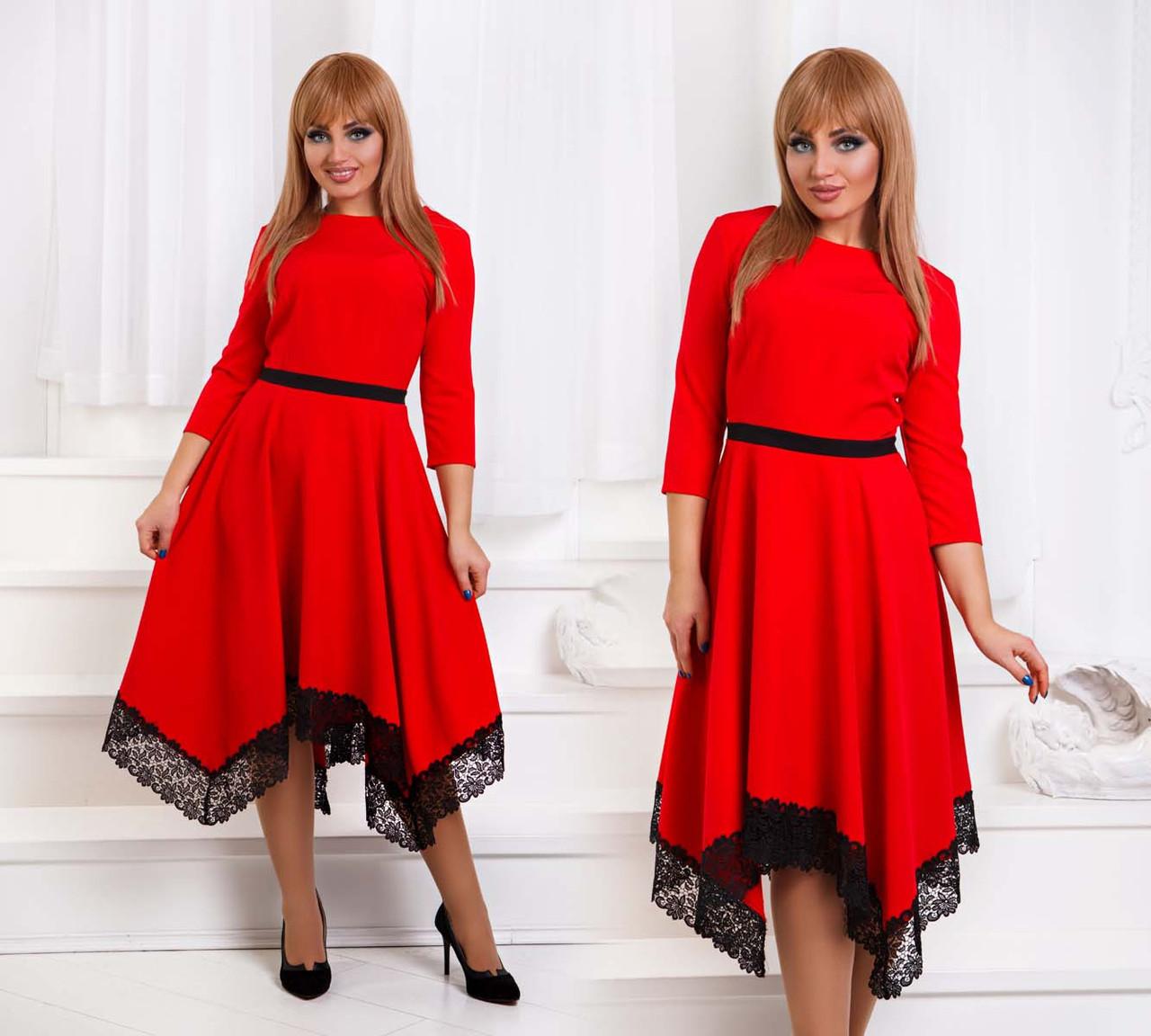 """Елегантне жіноче плаття нарядне у великих розмірах """"Креп Кльош Кути Мереживо"""" в кольорах (DG-ат1181)"""
