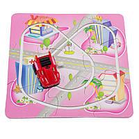 Трек-пазл Aohua с заводной машинкой, 17 см*17 см, длина машинки 4 см, розовый, пластик.