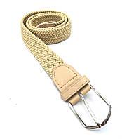 Ремень поясной  плетенка резинка бежевый (3,5 см)