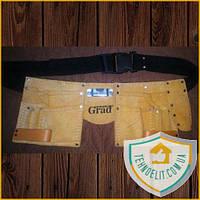 Пояс для инструмента кожаный удобный 11 карманов Grad