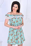 Модное женское летнее платье,размеры:44, 46, 48, 50,ткань лён+кружево., фото 1