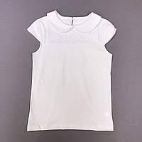 Блуза белая с коротким рукавом на девочку р.146 (10-11 лет)
