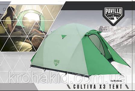 Трехместная палатка Bestway Cultiva 68046, Размеры: 200+140 х 180 х 125 см. Вес: 4,2 кг., фото 2