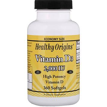 Healthy Origins, Витамин D3, 2,000 МЕ, 360 гелевых капсул