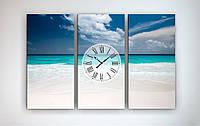 Картина с часами на холсте Пляж