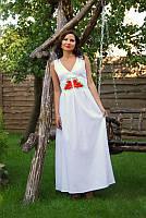 Нежное вышитое платье бисером в пол с двухцветной вышивкой (П18-21)