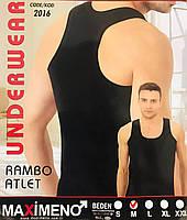 Чоловіча майка - борцовка бавовна Maximeno Туреччина біла розмір M (46-48) чорна