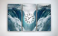 Картина с часами на холсте Водопад