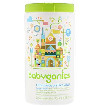 BabyGanics, Универсальные салфетки для протирания поверхностей, без запаха, 75 предварительно увлажненных салфеток