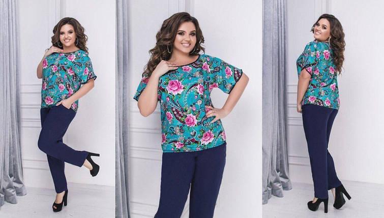 "Шикарный костюм двойка блуза и брючки ткань ""Штапель"" размер 50 размер батал, фото 2"