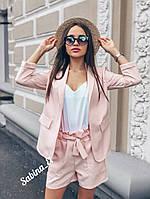 Стильный женский костюм тройка, персик+белый, фото 1