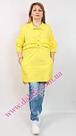 Нарядная желтая  рубашка-туника с оборками и логотипом Marissis, фото 1