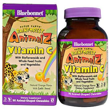 Bluebonnet Nutrition, Super Earth, Rainforest Animalz, витамин C, натуральный апельсиновый ароматизатор