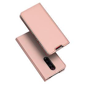 Чехол книжка для Xiaomi Redmi K20 боковой с отсеком для визиток, DUX DUCIS, золотисто-розовый