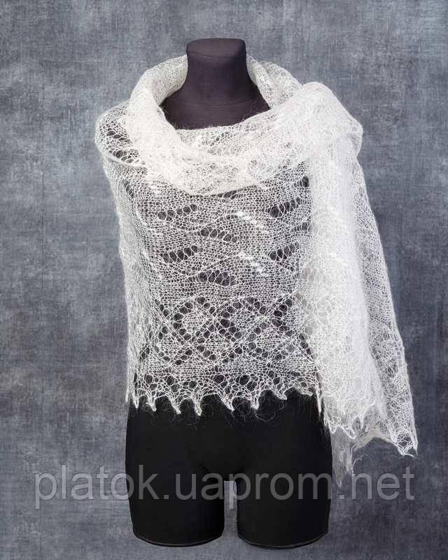 Палантин Ландыши  П-00057, белый , оренбургский шарф (палантин)