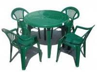 """Комплект стол круглый + 4 стула """"Луч"""", зеленый"""