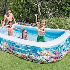 Надувной бассейн Intex 58485 Тропический риф, детский, для детей, интекс для дачи, семьи