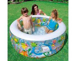 Детский бассейн Intex 58480, летний интекс для детей, пляжа, дачи, сада, надувной басейн