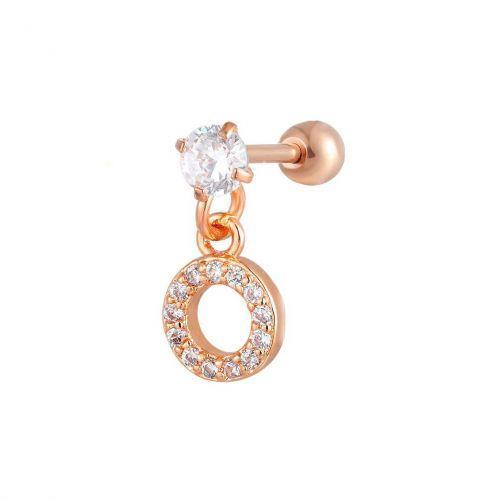 Серьга в хрящ уха подвеска кольцо красное золото с белыми фианитами 165181