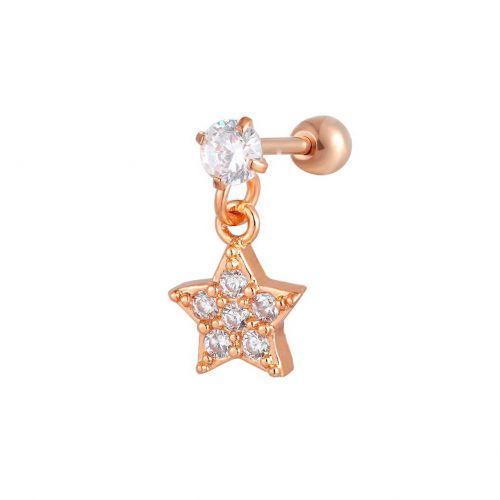 Серьга в козелок красное золото с медной подвеской звезда 165183