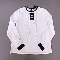 Блуза нарядная с длинным рукавом на девочку р.122 (6-7 л), 128 (7-8 л), 134 (9 л), 140 (10 л), 146 (11л)