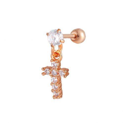 Серьга в козелок красное золото с медной подвеской крест 165189